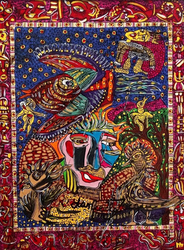 """Notre coup de cœur d'aujourd'hui: Danielle Jacqui, """"Un faune dans la mer"""", peinture acrylique, 65x80, 2016 - une de nos pièces pour la foire d'art """"Outsider Art Fair 2017"""" à New York !  Today's favourite discovery: Danielle Jacqui, """"Un faune dans la..."""