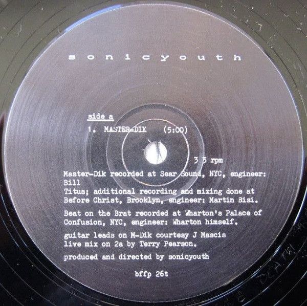 Sonic Youth - Master=Dik / Beat On The Brat (Vinyl) at Discogs