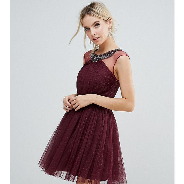 Little Mistress Petite Embellished Mesh Top Full Prom Skater Dress (149 AUD) ❤ liked on Polyvore featuring dresses, petite, red, maxi dresses, sleeved prom dresses, red dress, petite prom dresses and red polka dot dress
