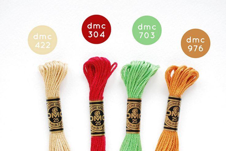 {Caramel Apple} DMC Floss Color Combination 422: Light Hazelnut Brown; 304: Medium Red; 703: Chartreuse; 976: Medium Golden Brown
