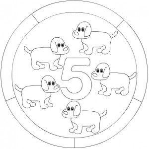 number 5 mandala coloring