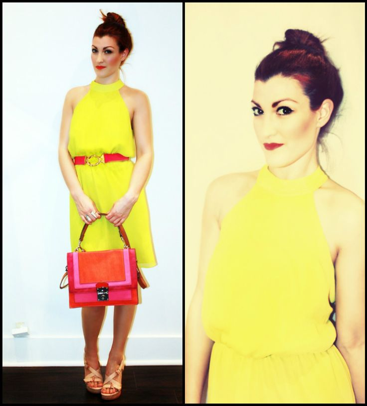 Bevello Houston Tx ..Chartreuse pleated dress with an INCREDIBLE pink/orange bag.. i wantt this bag. Neon Pink beltPink Belts, Pink Orange Bags, Incredibles Pink Orange, Neon Pink