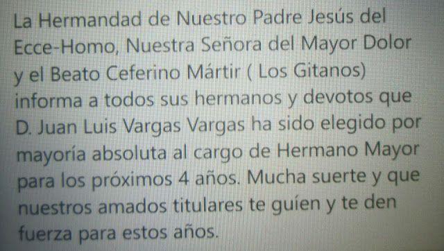 Cruces de Pasión: Lebrija(Sevilla).Nuevo hermano mayor de Los Gitanos