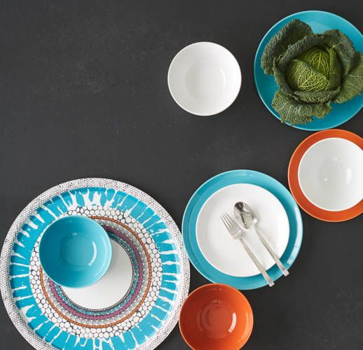 Beautiful turquoise, white, and orange dishes! #IKEAcataLOVE IKEA Catalog 2015