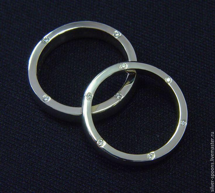 Купить Обручальное кольцо из белого золота (пара обручальных колец) - драгоценные камни, золотое кольцо