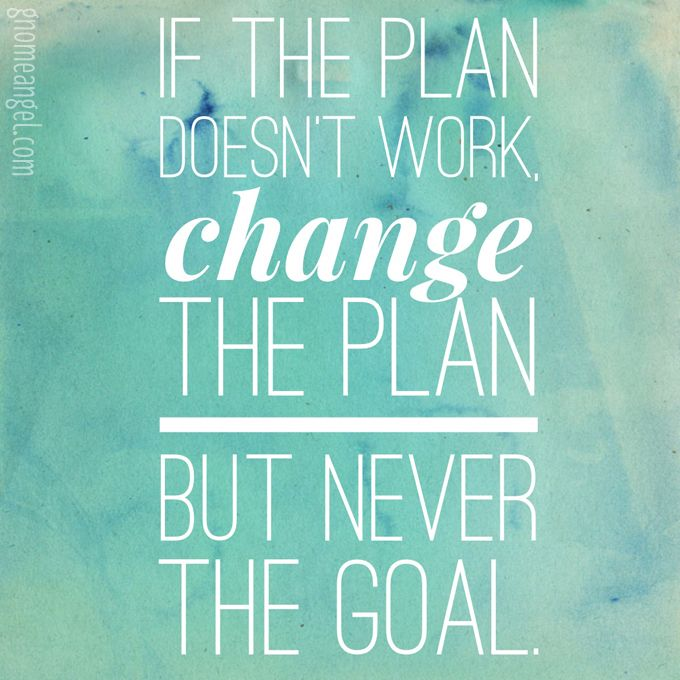 "Motivation quote: ""If the plan doesn't work change the plan but never the goal."" - GnomeAngel.com"