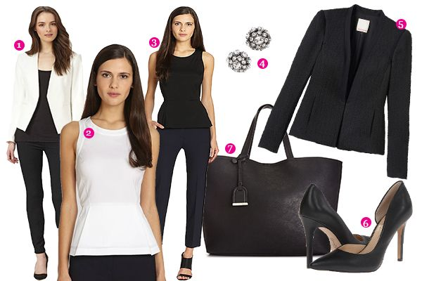 1. Cropped Open Front Blazer 2. Theory White Peplum Top 3. Theory Peplum Top with Black Ankle Pants 4. Kate Spade Stud Earrings 5. Rebecca Taylor Brocade Jacket 6. Classic Black Pumps 7. Kennith Cole Tote