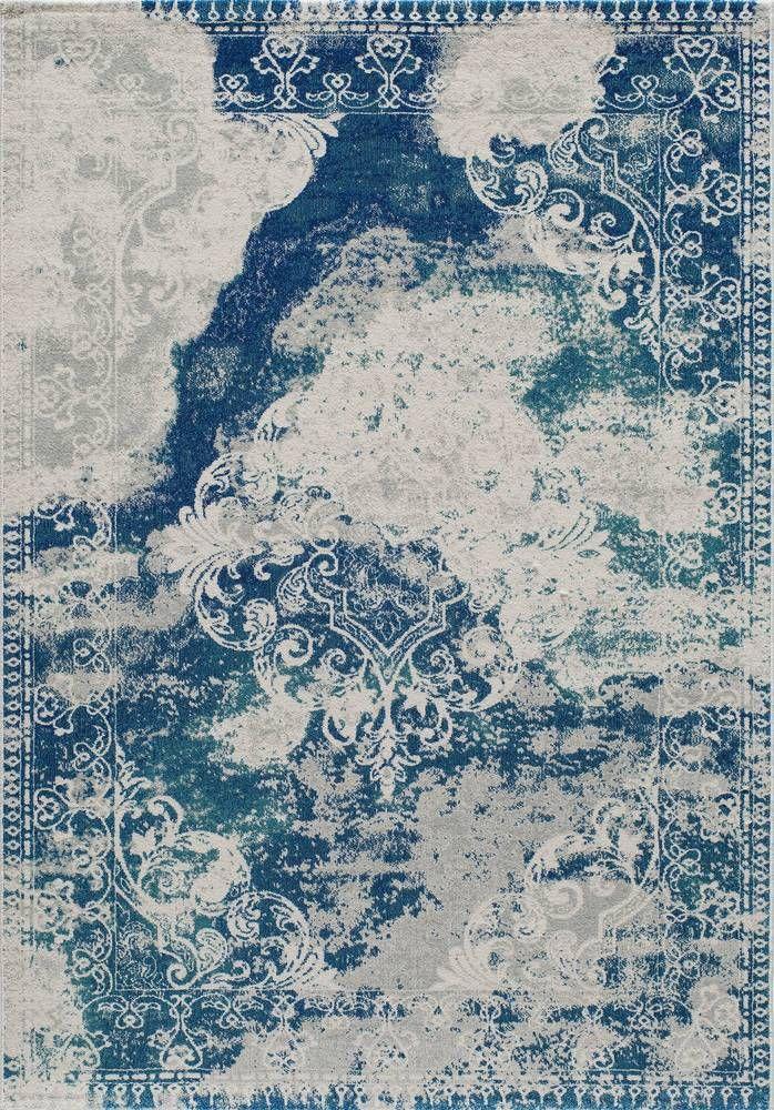 Alma Distressed Blue Area Rug