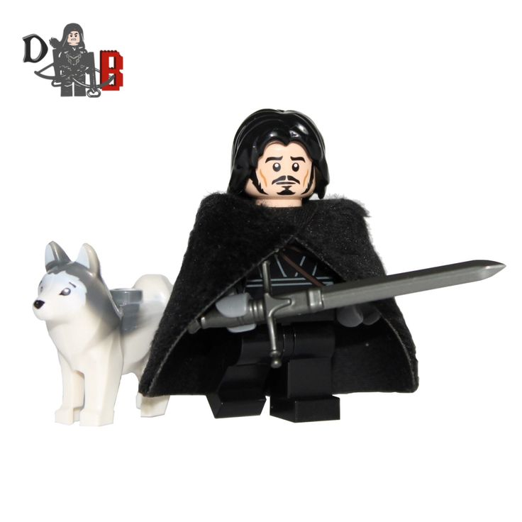 Custom Game of Thrones Jon Snow Minifigure with wolf Ghost made using LEGO and custom parts by Demonhunterbricks on Etsy https://www.etsy.com/listing/187628496/custom-game-of-thrones-jon-snow