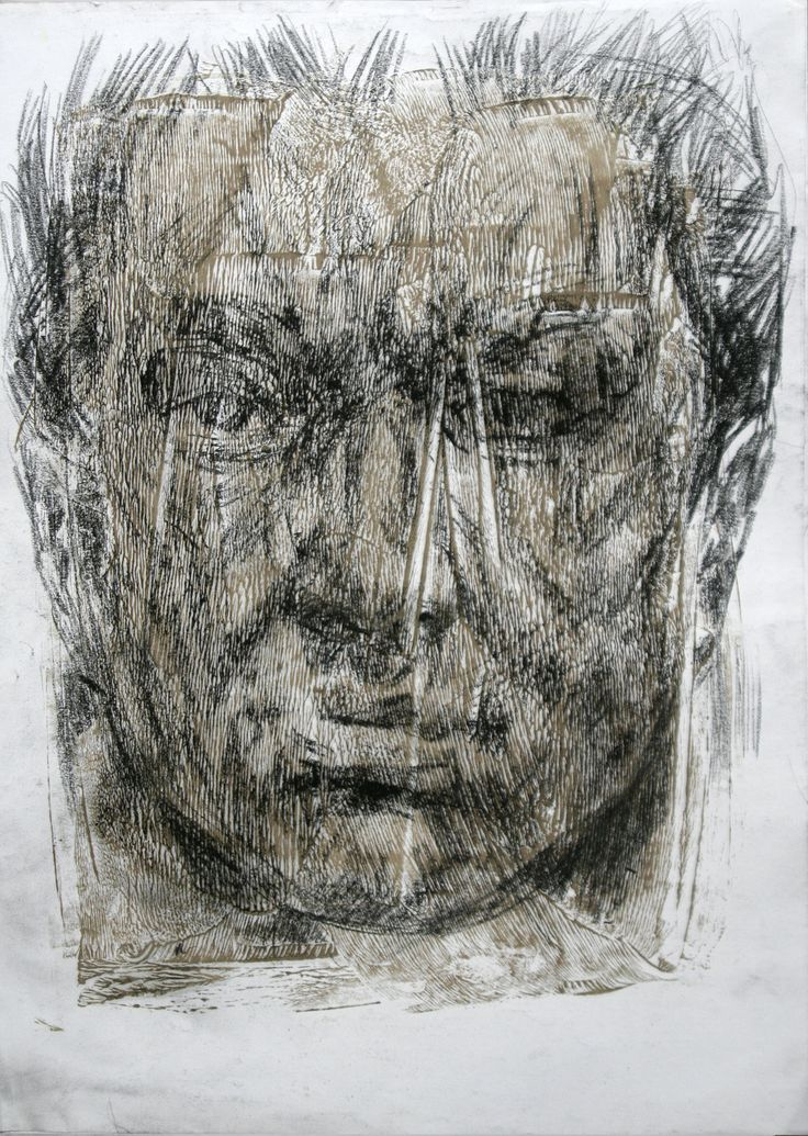 artwork by Ali pirooz . Mix media on paper. 29.5 x 42 cm. 2011.  Drawing Portrait , oil and conte charcoal
