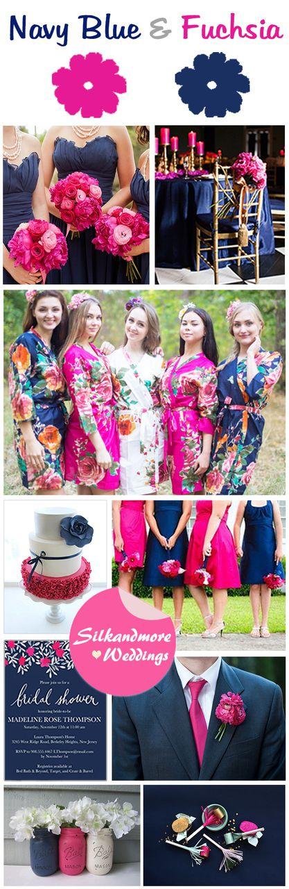 Navy Blue and Fuchsia Wedding Color Combo, $25 (http://robesbysilkandmore.com/navy-blue-and-fuchsia-wedding-color-combo/)