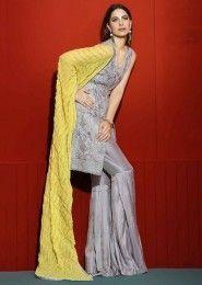 Party Wear Grey Georgette Heavy Embroidery Work Salwar Suit