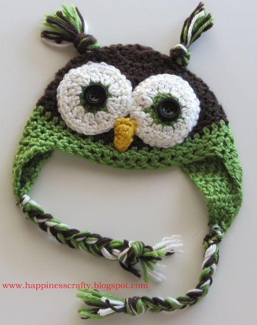 Free Pattern Crochet Owl Hat : Crochet Owl Hat ~ Free Pattern Newborn CrochetHolic ...