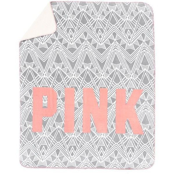 Victoria's Secret PINK Plush Sherpa Blanket in Grey Neon Apricot (1,235 DOP) ❤ liked on Polyvore featuring home, children's room, children's bedding and baby bedding