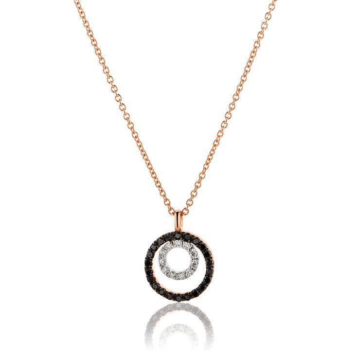 Κολιέ Diamonds Collection από ροζ χρυσό 18Κ με μαύρα μπριγιάν 0.06ct και λευκά μπριγιάν 0.15ct VS