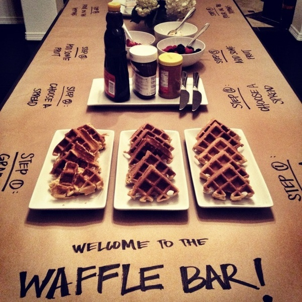 "Waffle Bar... instructions for guests written on the butcher paper tablecloth.  Could be used for pancakes, tacos, etc. Great way to do a ""waterfall"" or progressive party in a small space"