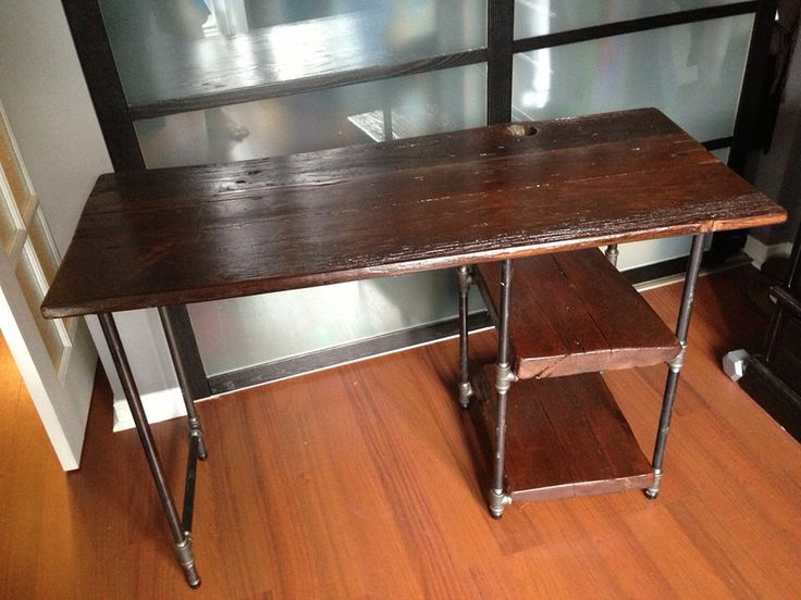 reclaimed barn wood and pipe desk iron furniture