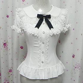 Victorian Style Blouses, Steampunk Blouses, Edwardian Blouses - Candy Princess White Chiffon Short Sleeve Sweet Victorian Blouse $29.99 #Steampunk #victorian #lolita