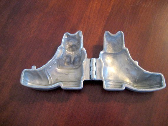 Vintage Pewter Puss N Boots Ice Cream Mold   Circa by FrancesAttic
