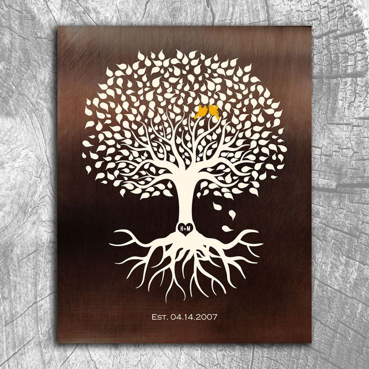 Personalized Anniversary Minimalist Tree on Faux Bronze Background Gift For Couple 8th Year Custom Art Print on Paper Canvas Metal
