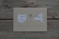 Long Distance Relationship Card customized with personalized