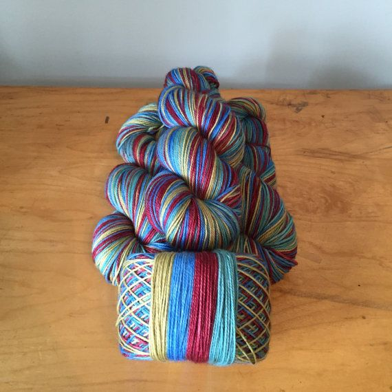 SELF-STRIPING Hand-Dyed Sock Yarn On the Dock by JuliannasFibre