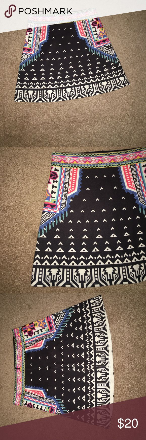 Aztec print skirt Gorgeous Aztec print skirt- will carrot reasonable offers! It is a size medium, but fits smaller. Worn one afternoon. Flying Tomato Skirts Mini