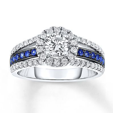 Sapphire Engagement Ring 1 ct tw Diamonds 14K White Gold