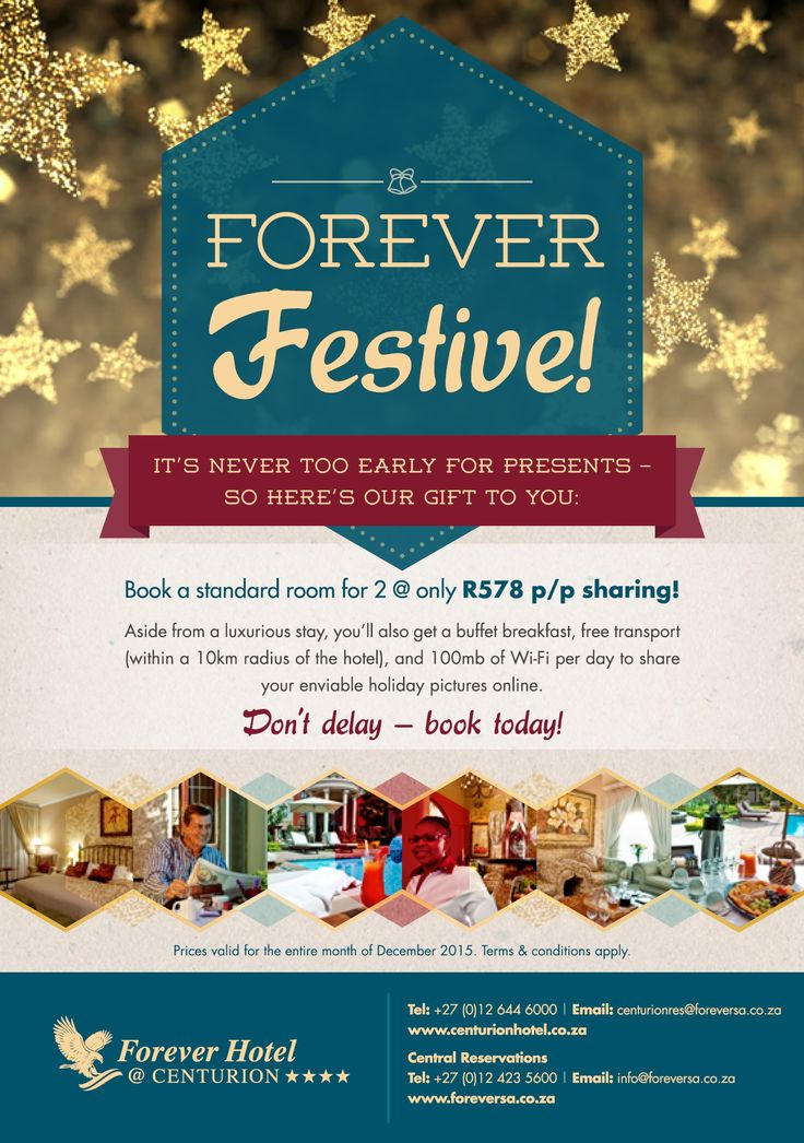 As from today bookings are open for our Forever Hotel at Centurion December special. Don't delay, book today! Please contact Central Reservations at ‪#‎ForeverResortSA‬ for more information 012 423 5600