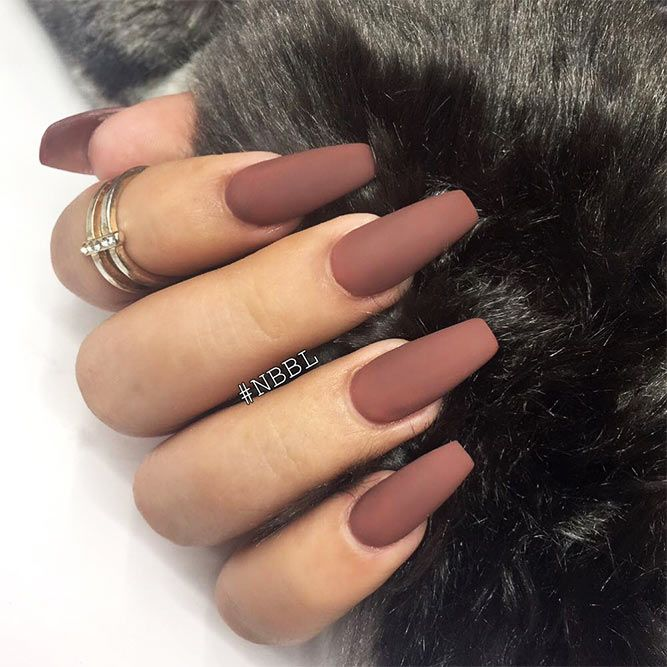 18 Beautiful Coffin Nail Designs Ideas ★ Matte Coffin Nails Design for Beautiful Look Picture 1 ★ See more: http://glaminati.com/coffin-nail-designs/ #coffinnails #coffinnaildesigns