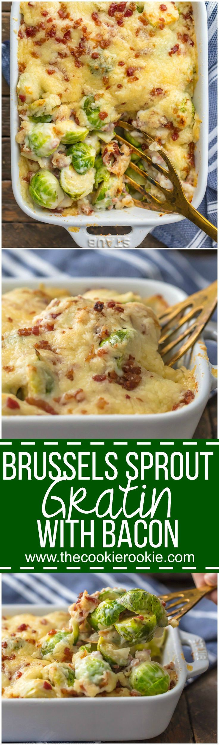 BRUSSELS SPROUT GRATIN with BACON is the ultimate holiday side dish! Who can resist brussels sprouts when sprinkled with bacon and SO MUCH CHEESE! The cream sauce inside is so easy and delicious, making this a Thanksgiving favorite for our family. #ButterballOnDemand #ad @Butterball