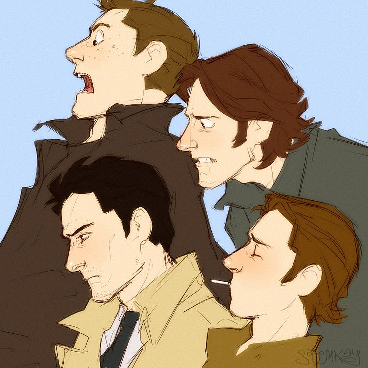 The Winchesters and a pair of angels. I suspect that whatever they are looking at... Gabriel did it.