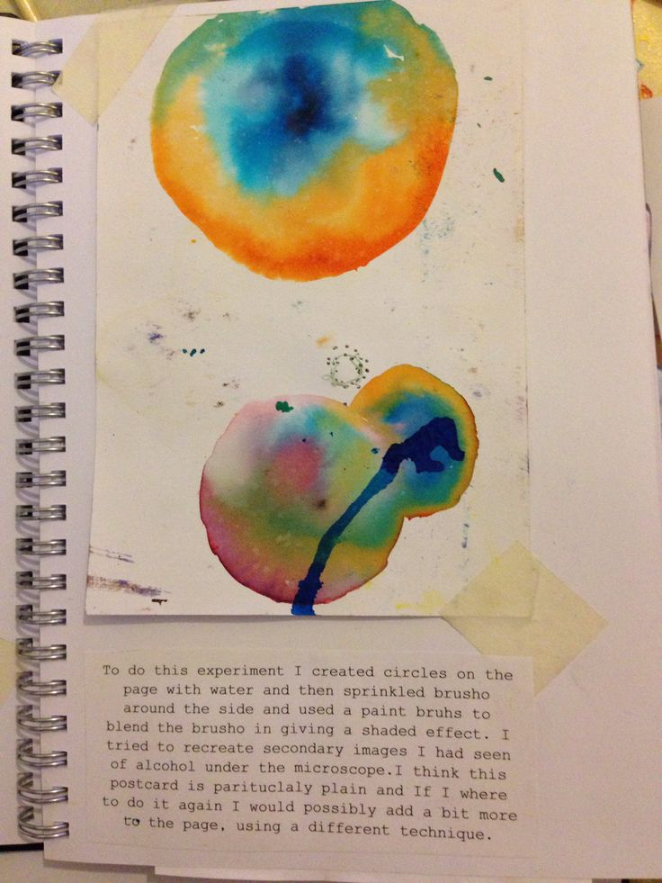 To do this experiment i used brusho. To creathe the circle, cell like shapes i used a paintbrush to apply circles of water onto the page then painting the brusho on blending it, giving it a sort of tie dye effect.