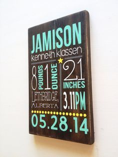 Custom HAND PAINTED WOOD baby sign birth announcement stats on Etsy, $55.70 CAD