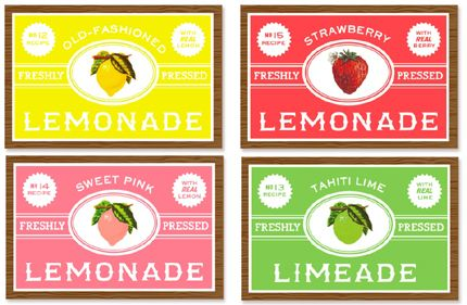Print some of these lemonade label pretties, cut and apply directly to bottles. Or print on cardstock for some cards, decor or gift tags.  Great for a summertime soiree, wedding, BBQ or shower: