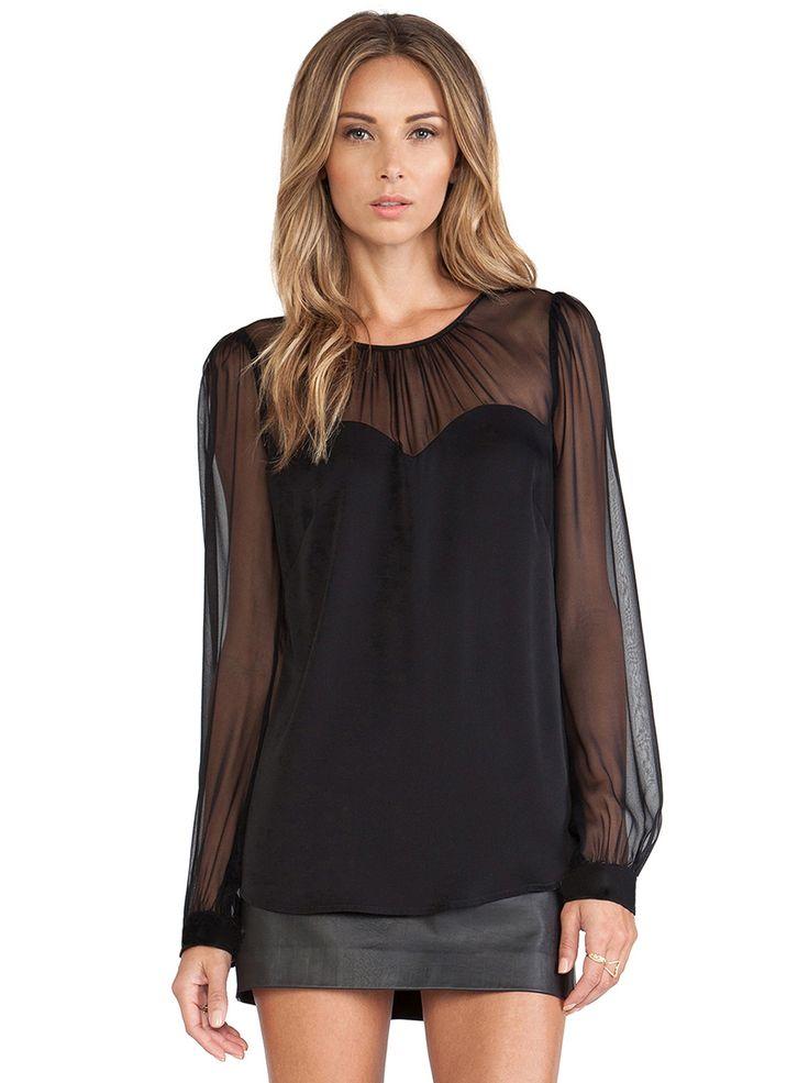 Black Contrast Mesh Yoke Long Sleeve Blouse - Sheinside.com