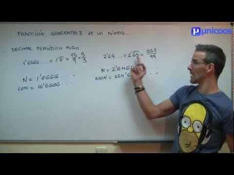 Fracción generatriz de un decimal periódico puro