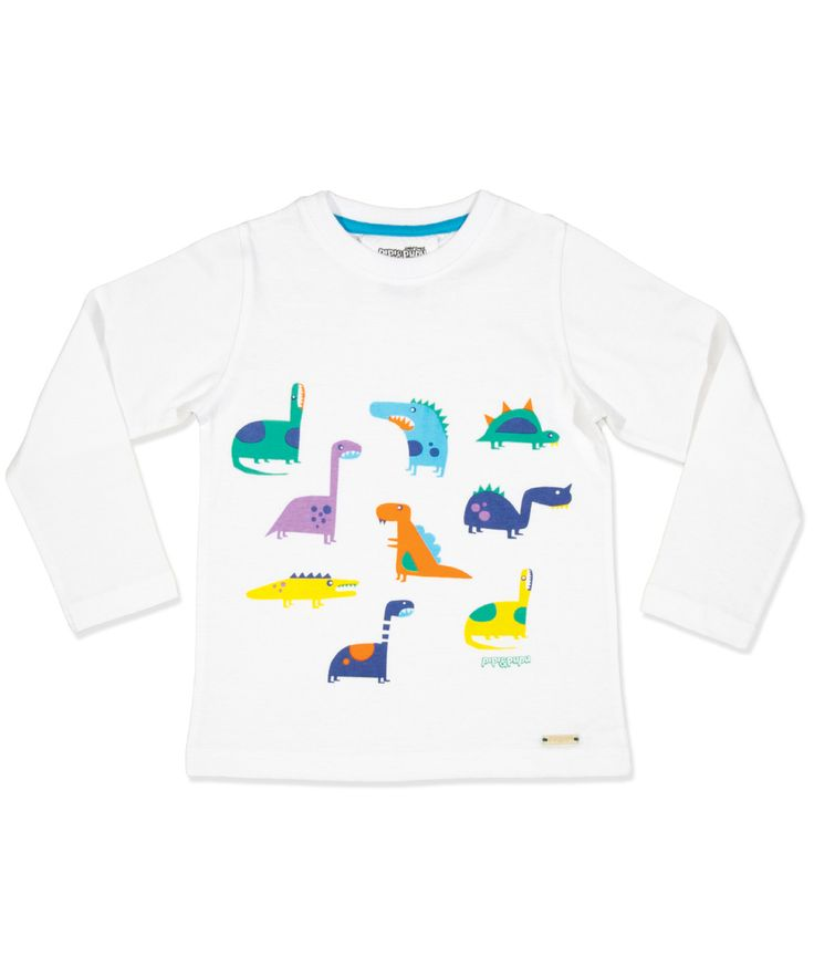 Kids will love this dinosaur T shirt! Dinosaur print on white organic cotton. Long sleeve.  Baby sizes have two snap buttons on shoulder for extra comfort.  T shirt comes packed in a gift box which make for a perfect gift.  PIPI & PUPU kids(art)wear - Playful quality organic cotton for ki...