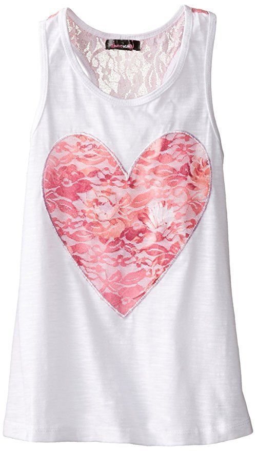 Dream Star Little Girl Racerback Tank Top Pink Lace Heart White Size M 10-12 NWT #Dreamstar #TankTop #EverydayCasual