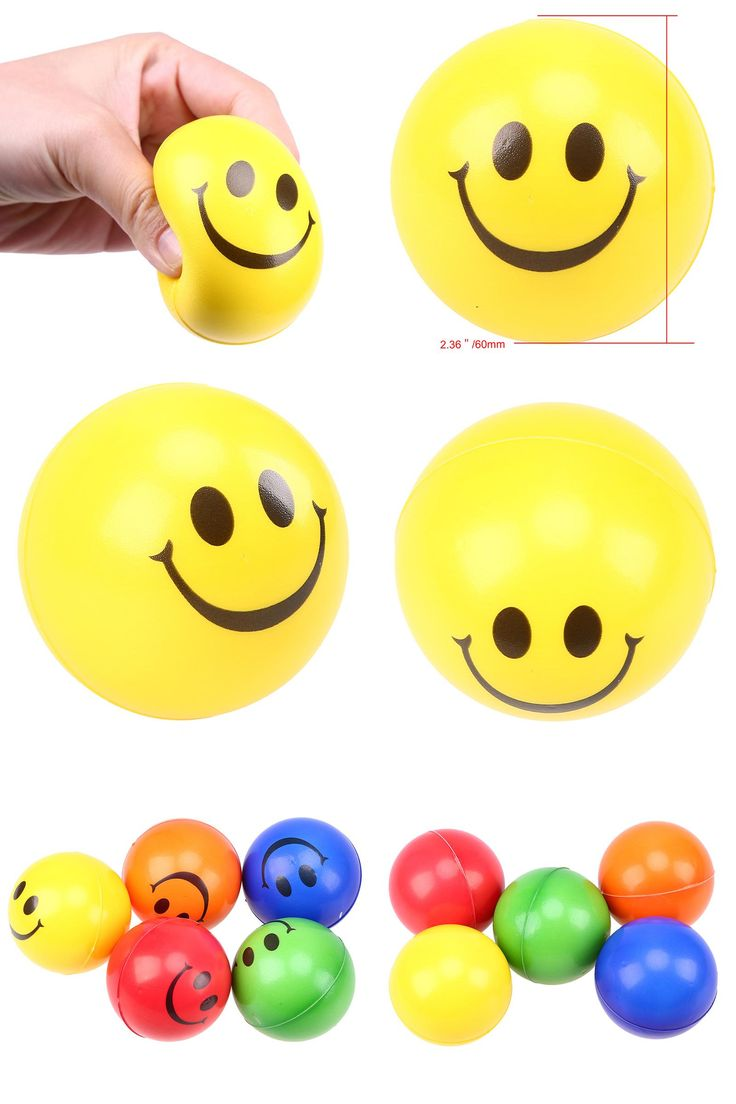 [Visit to Buy] Cute Smile Face Print Stress Ball Hand Wrist Exercise Stress Relief Balls Party Suppliers Child's Gift Toy Random Color #Advertisement