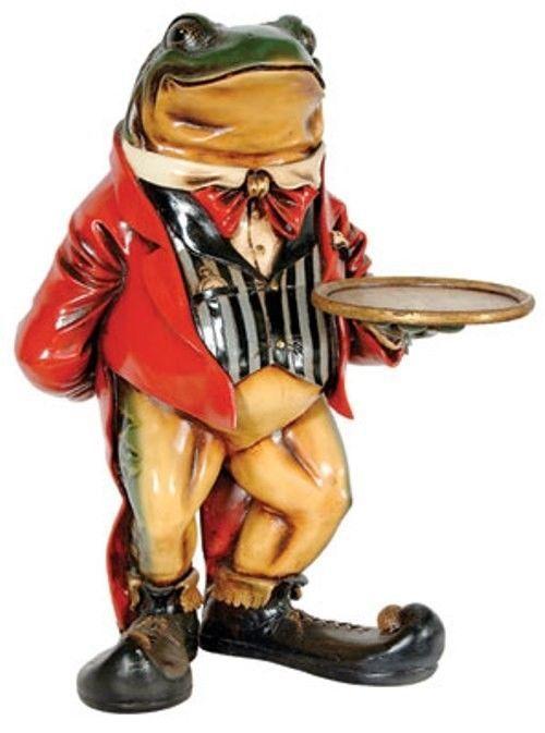 Frog Butler Statue Frog Waiter Butler Statue Holding