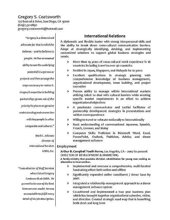 International Relations Resume Example
