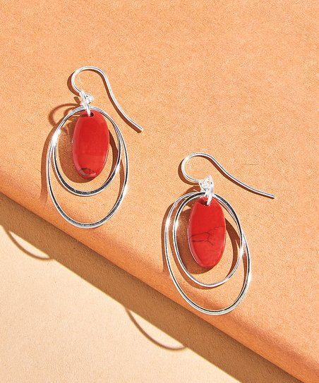 Urban Sterling Silver Red Agate & Sterling Silver Layered Oval Drop Earrings | zulily