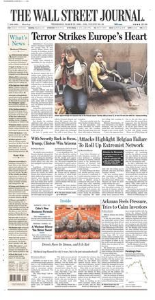 The Wall Street Journal is a business-focused, English-language international newspaper based in New York City. The Journal, along with its Asian and European editions, is published six days a week by Dow Jones & Company, a division of News Corp. The newspaper is published in the broadsheet format and online.