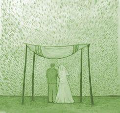 """Direkt nach der Chuppa begibt sich das Brautpaar in den """"Jichud (Einheits)-Raum"""", wo sie ein paar Minuten allein verbringen ... Nach dem ganzen öffentlichen Pomp und der Zeremonie ist für das Paar die Zeit gekommen, ein paar private Momente zu verbringen; das ist der Grund für die gesamte Zeremonie! Selbst mit einer jubelnden Menschenmasse, die ihnen alles Glück dieser Welt wünschen und ihre ungeteilte Aufmerksamkeit zuteil kommen lässt, müssen sie eine Pause machen, um für sich da zu sein…"""