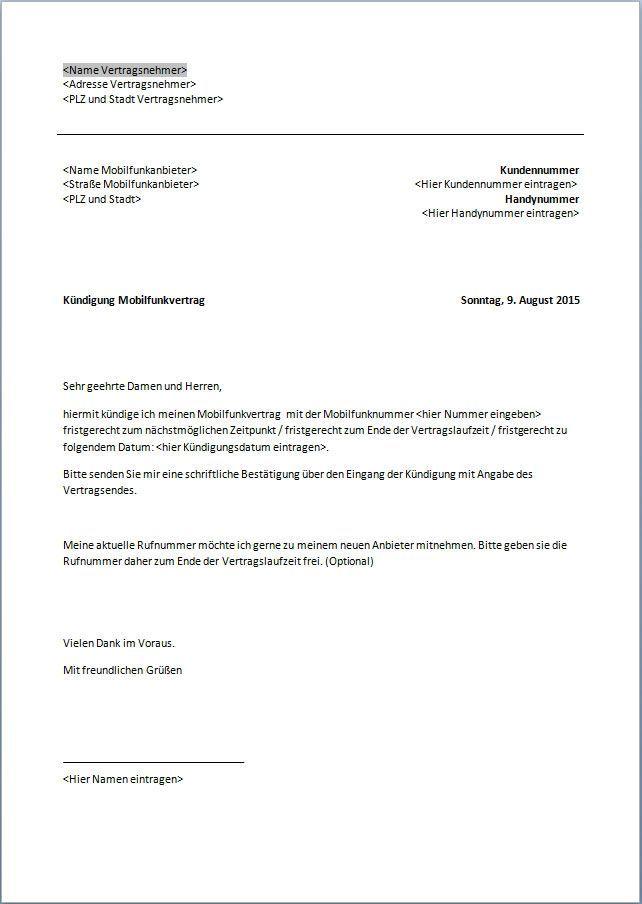 Vorlage Kündigung Vodafone Handyvertrag