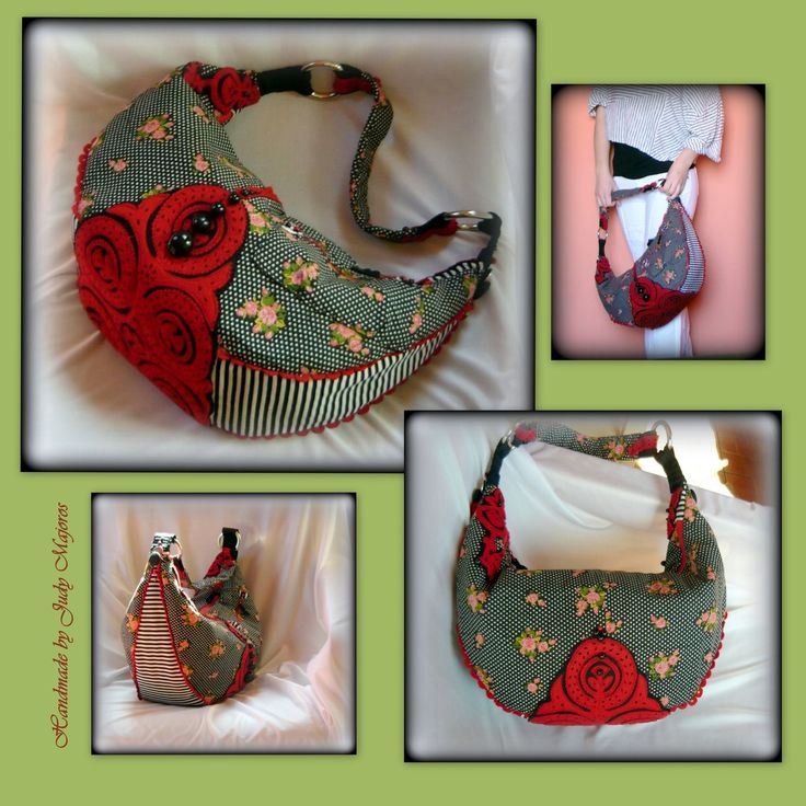 Handmade by Judy Majoros -Polka dots-striped-floral boho bag. Black and red felt applique.Beaded bag. Recycled bag