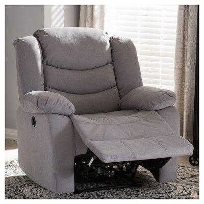 Lynette Modern and Contemporary Fabric Power Recliner Chair - Grey - Baxton Studio