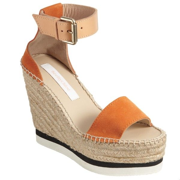 See by Chloé Wedge Heeled Platform Sandals, Orange ($210) ❤ liked on Polyvore featuring shoes, sandals, platform sandals, summer wedge sandals, platform wedge sandals, strappy platform sandals and wedge sandals