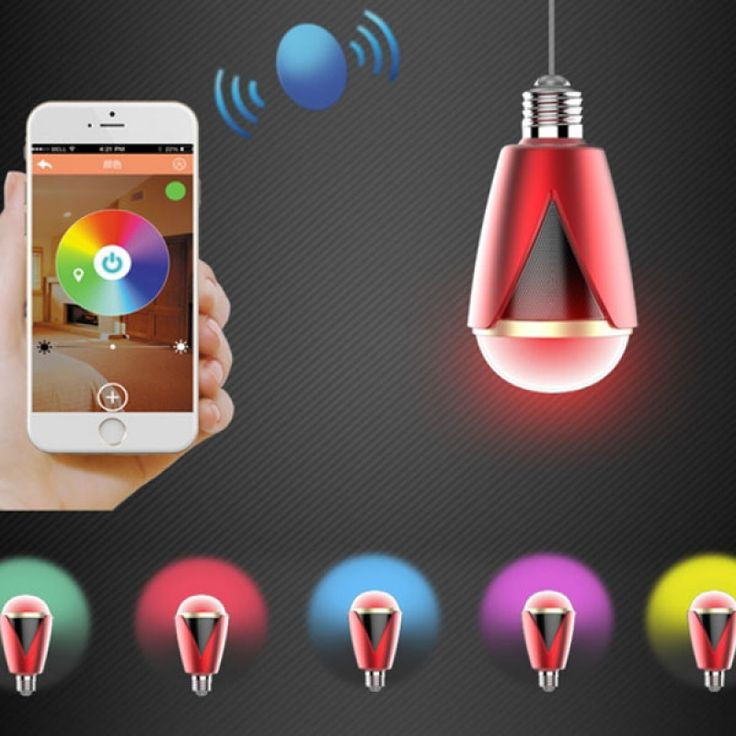 H1007 Bluetooth 4.0 App Remote Control Intelligent Timer Smart Speaker 16 Million Color RGB Light Bulb Red